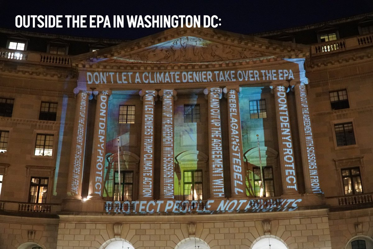 This is great! Big message against Trump's climate denying EPA team lead projected on the EPA in DC: https://t.co/BWO7foJdw1