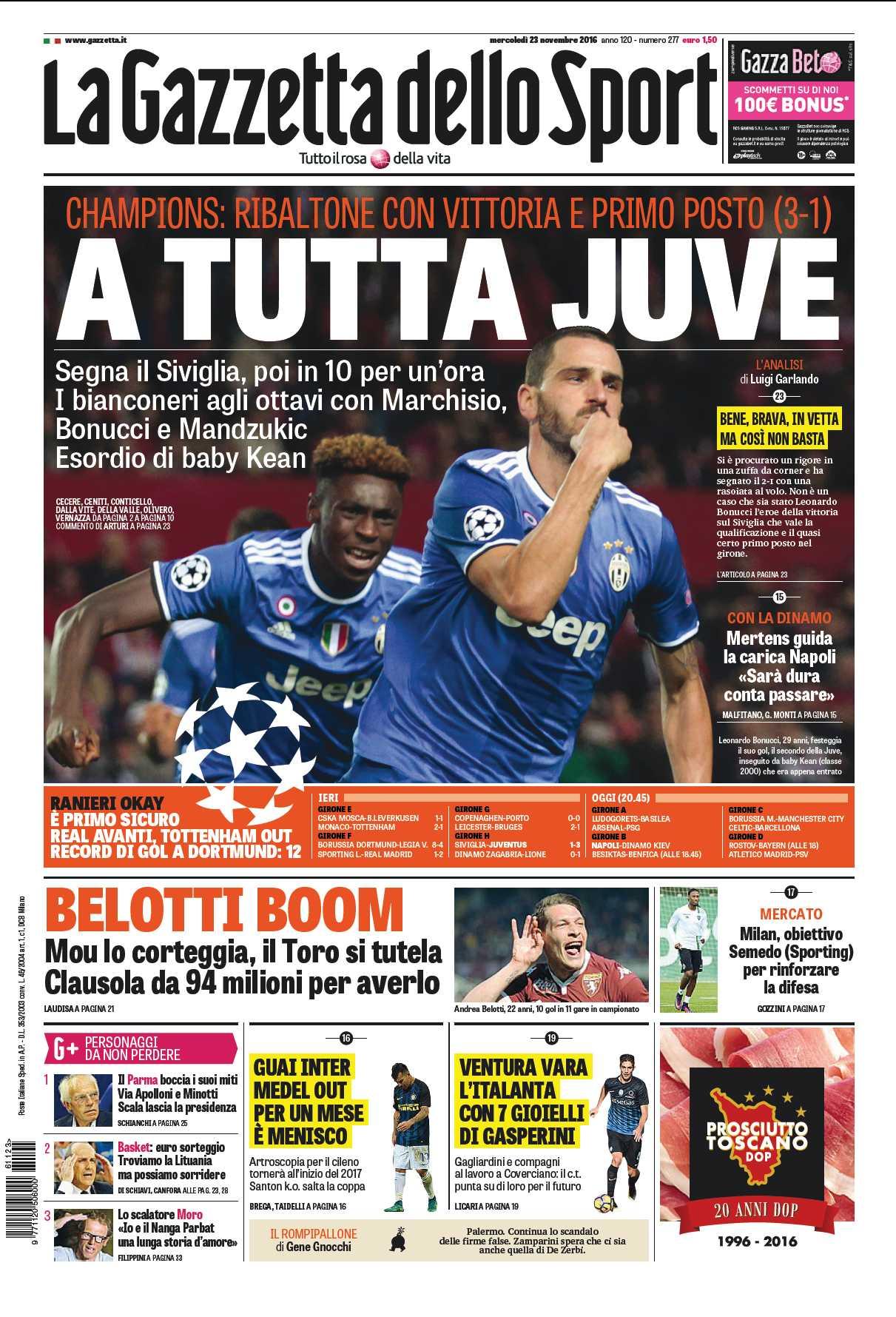 Sulla #Gazzetta in edicola oggi ⚽ A tutta Juve, bianconeri agli ottavi #SivigliaJuve ⚽ Inter, Medel si ferma ⚽ Belotti, clausola da capogiro https://t.co/3LqDZ1xLAD