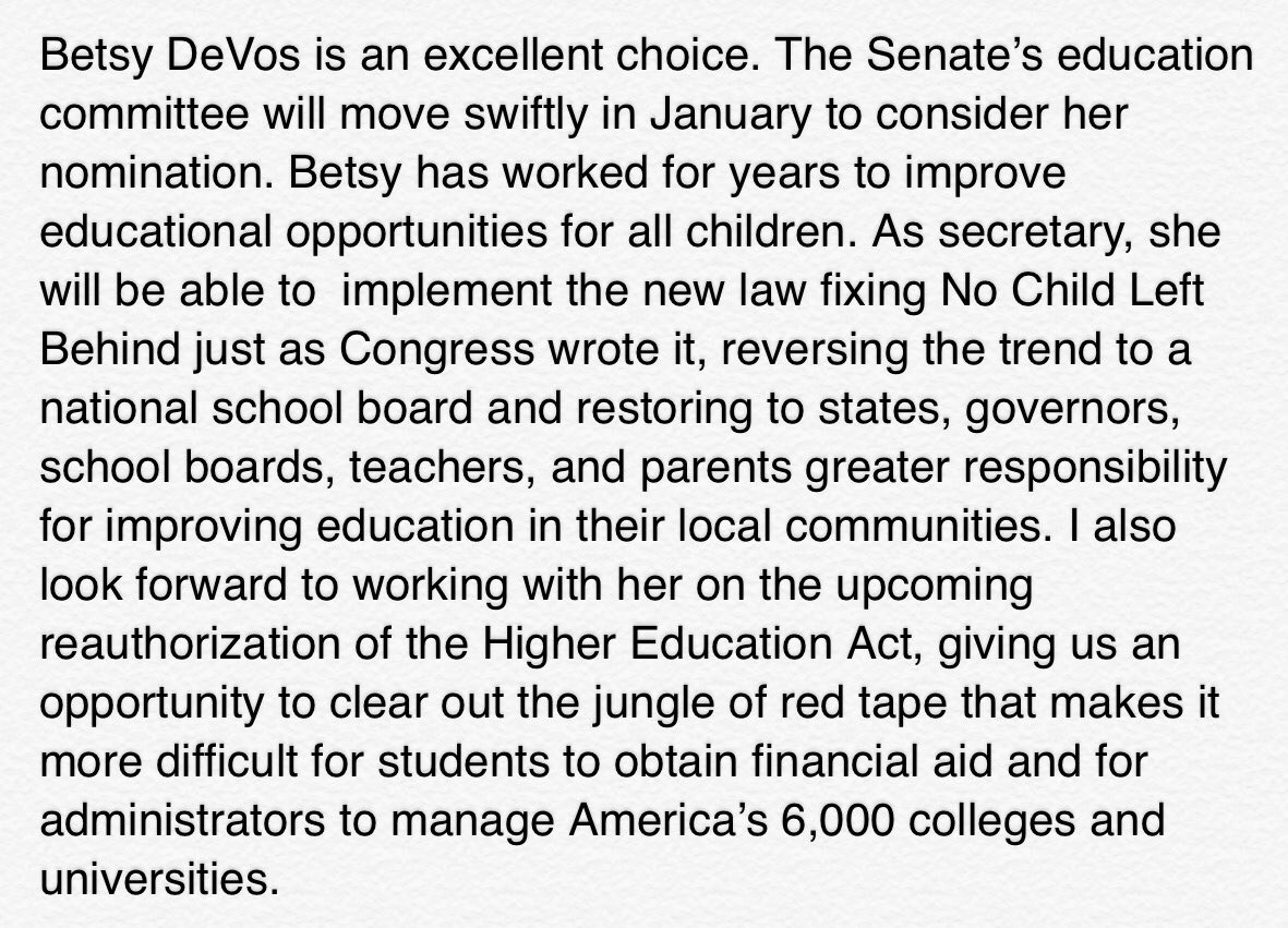 On the nomination of Betsy DeVos to be Secretary of Education https://t.co/TyJDrcTQqv