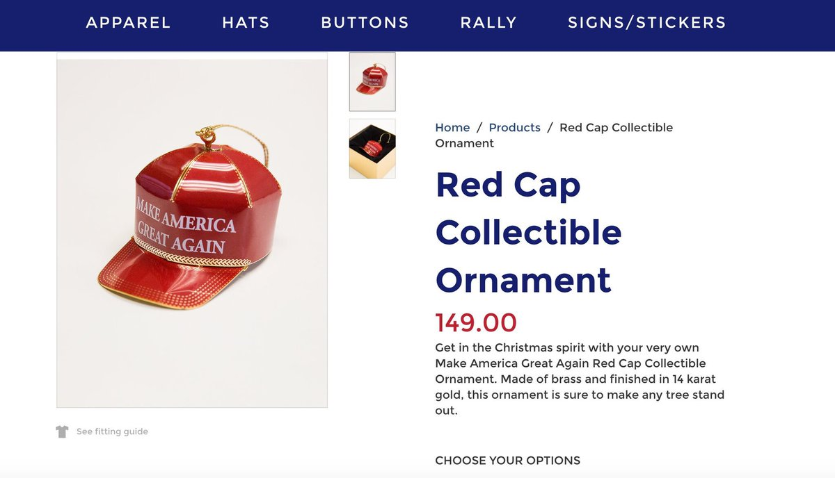 So @realDonaldTrump has already sunk to selling Christmas ornaments for $149. On behalf of all of human history: Don - go fuck yourself