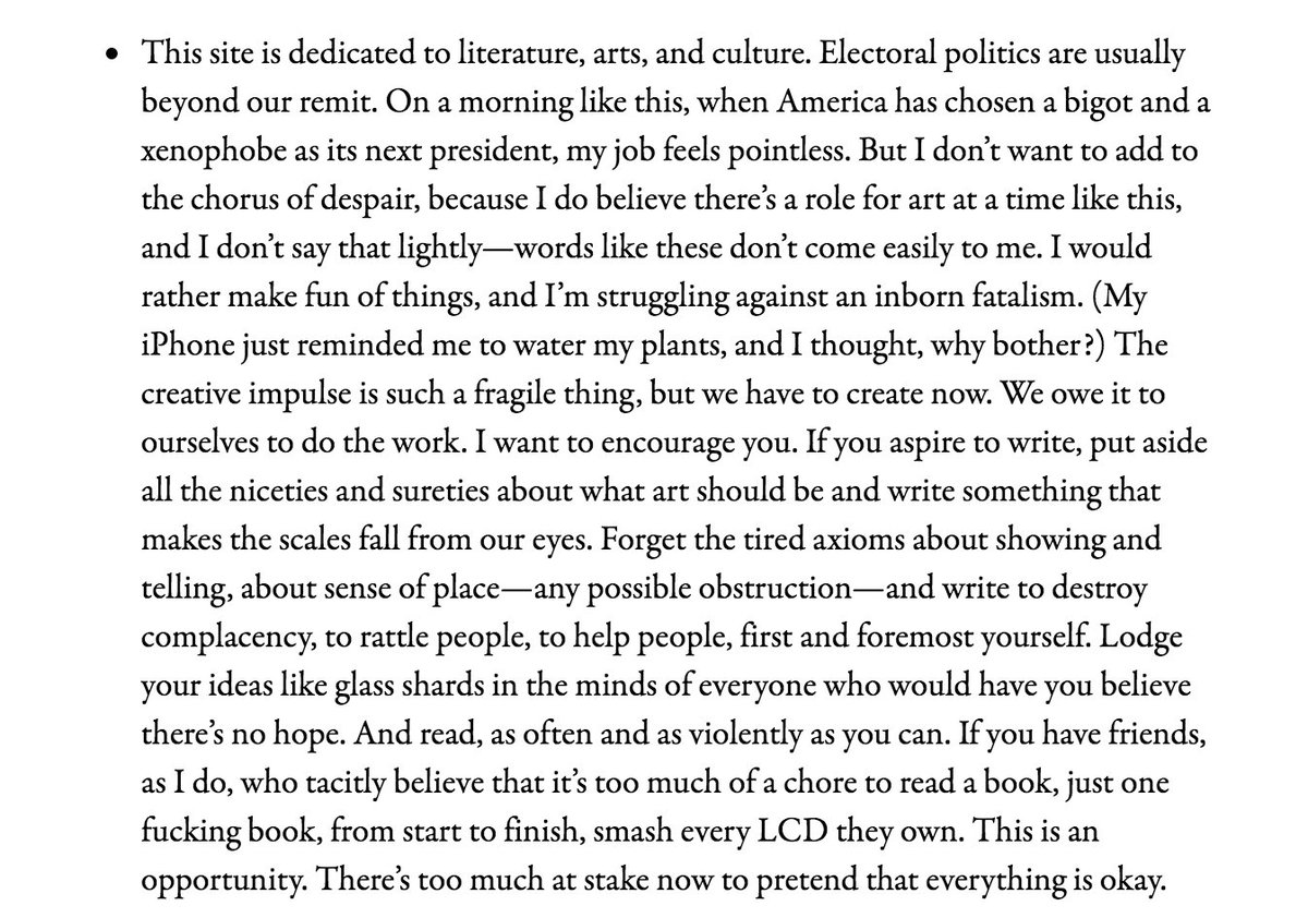 """Writers, start writing.""  https://t.co/sdH3ENC8tI Powerful, powerful note from  @parisreview https://t.co/MUGQWcjS61"
