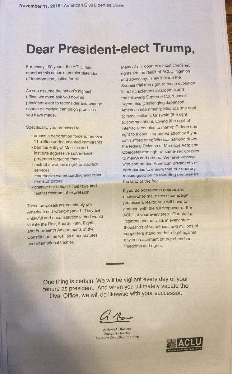 RT @ACLU: Today we published a full-page open letter in the New York Times to President-elect Trump https://t.co/FOpRqn9oNY