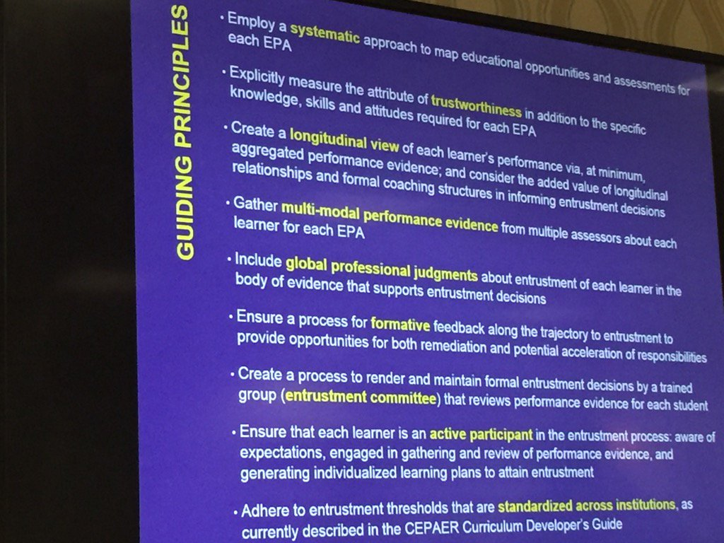 Guiding Principles for @AAMCtoday core EPAs #TGME16 https://t.co/0fgsV2hueU