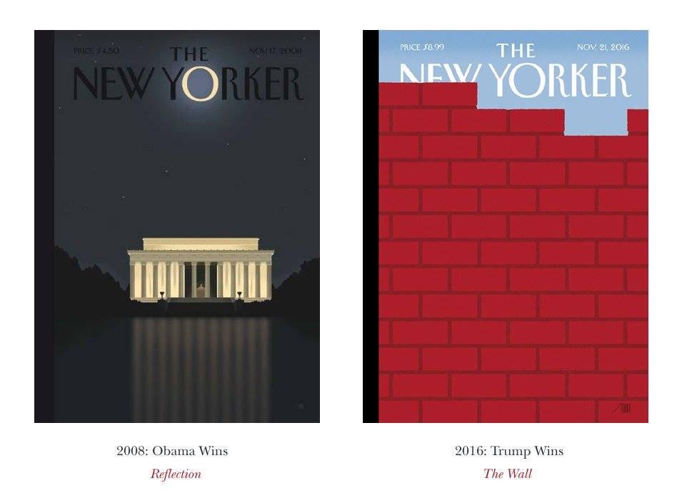 Two New Yorker covers, 2008 vs. 2016. https://t.co/YO0TiNEacy