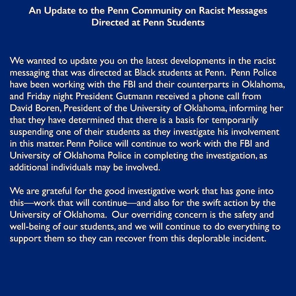 An Update to the Penn Community on Racist Messages Directed at Penn Students⠀ ⠀ We wanted … https://t.co/PK8O10cb18 https://t.co/FgLNZCNISj