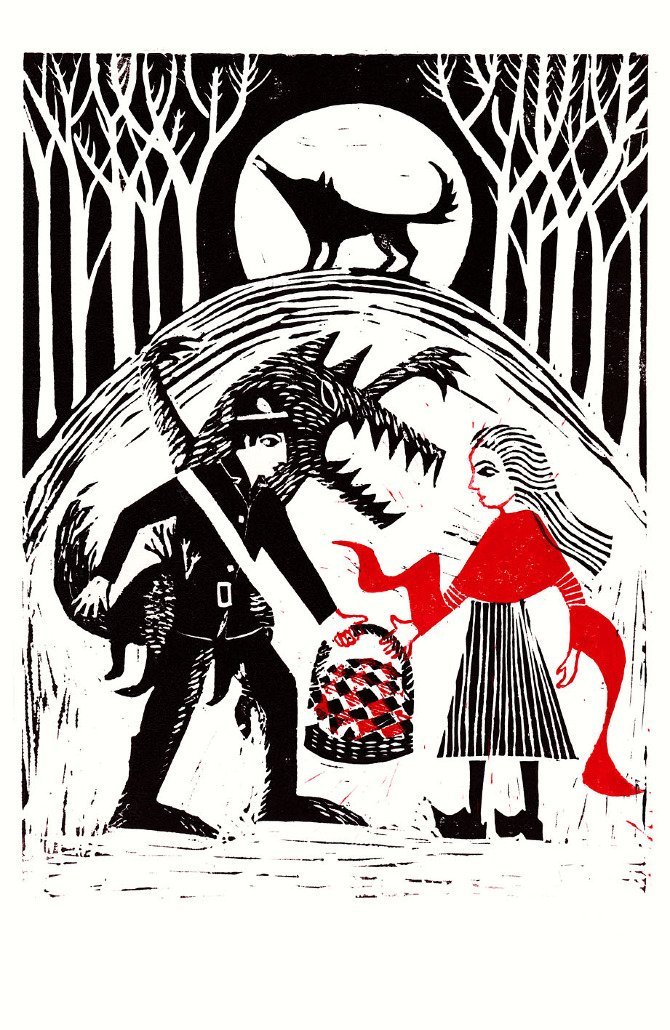 The Company of Wolves by Angela Carter.  Linocut Illustration by Rebecca Sutherland https://t.co/5GU8bUn9j9