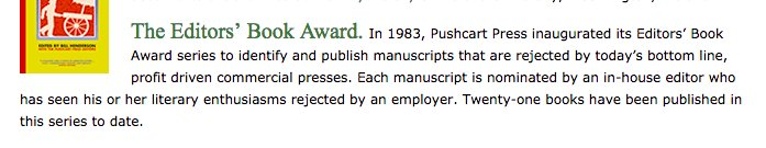 This is the most depressing description of a literary award I've ever seen: https://t.co/EcEUSsEMXH