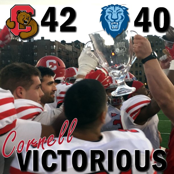 CORNELL VICTORIOUS!! Big Red football downs Columbia, 42-40, to win its fourth consecutive Empire Bowl. https://t.co/RoqVG3KhNW