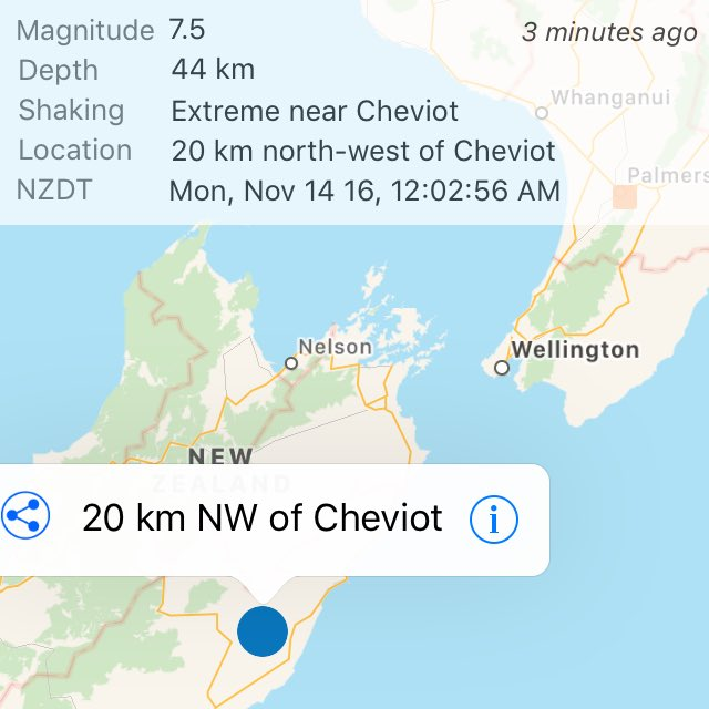 Wow. 7.5. That was biggest and longest I've experienced. Praying for South Island #eqnz. https://t.co/qgFGCVOoa5