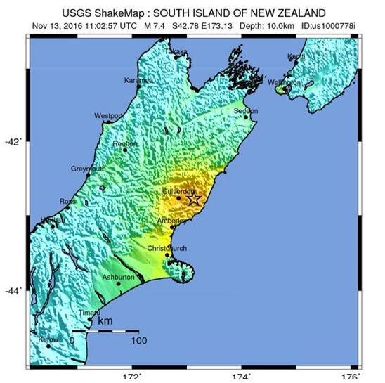 JUST IN: Magnitude-7.4 earthquake strikes New Zealand, near the city of Christchurch