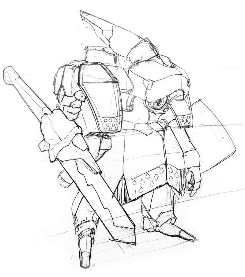 鎧ロボ系で何か考えてたんですよな。ガリアンでも、聖刻でも、ブレイクブレイドでもない感じのんが思いつければ。