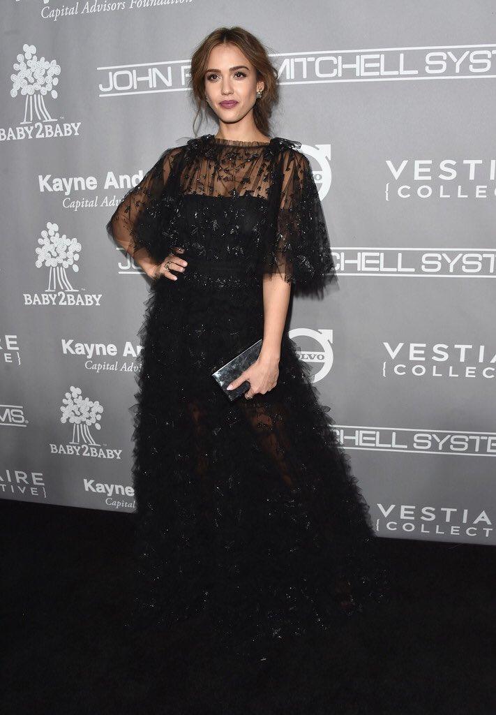 Jessica alba wore a #valentino spring 2017 embellished black sheer ...