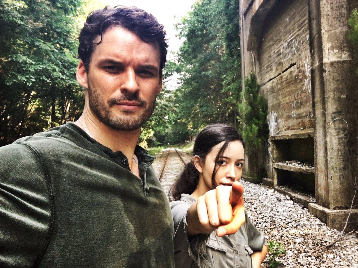 Spencer and Rosita on the railroad tracks. https://t.co/TeG7NdPrEf
