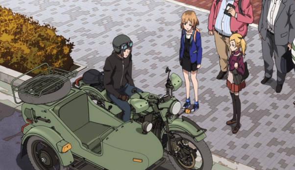 【作品】SHIROBAKO【人物】渡辺 隼【車種】IMZウラル・GEAR-UP 750cc【年式】不明