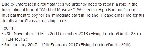 """PLEASE RT! Urgent recasting required for """"World of Musicals"""" International Tour. https://t.co/N4a05JMDgZ"""