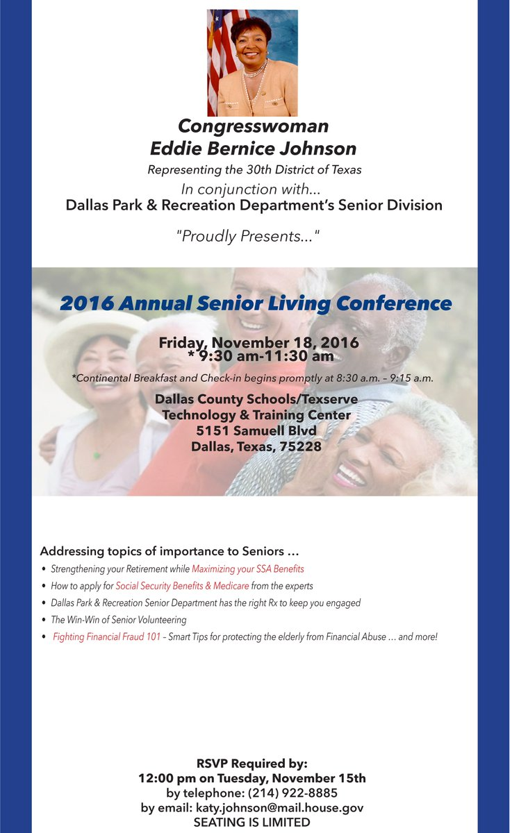 North Texas #seniors, Be Sure To Rsvp For The #ebjseniorlivingconference At  Katy