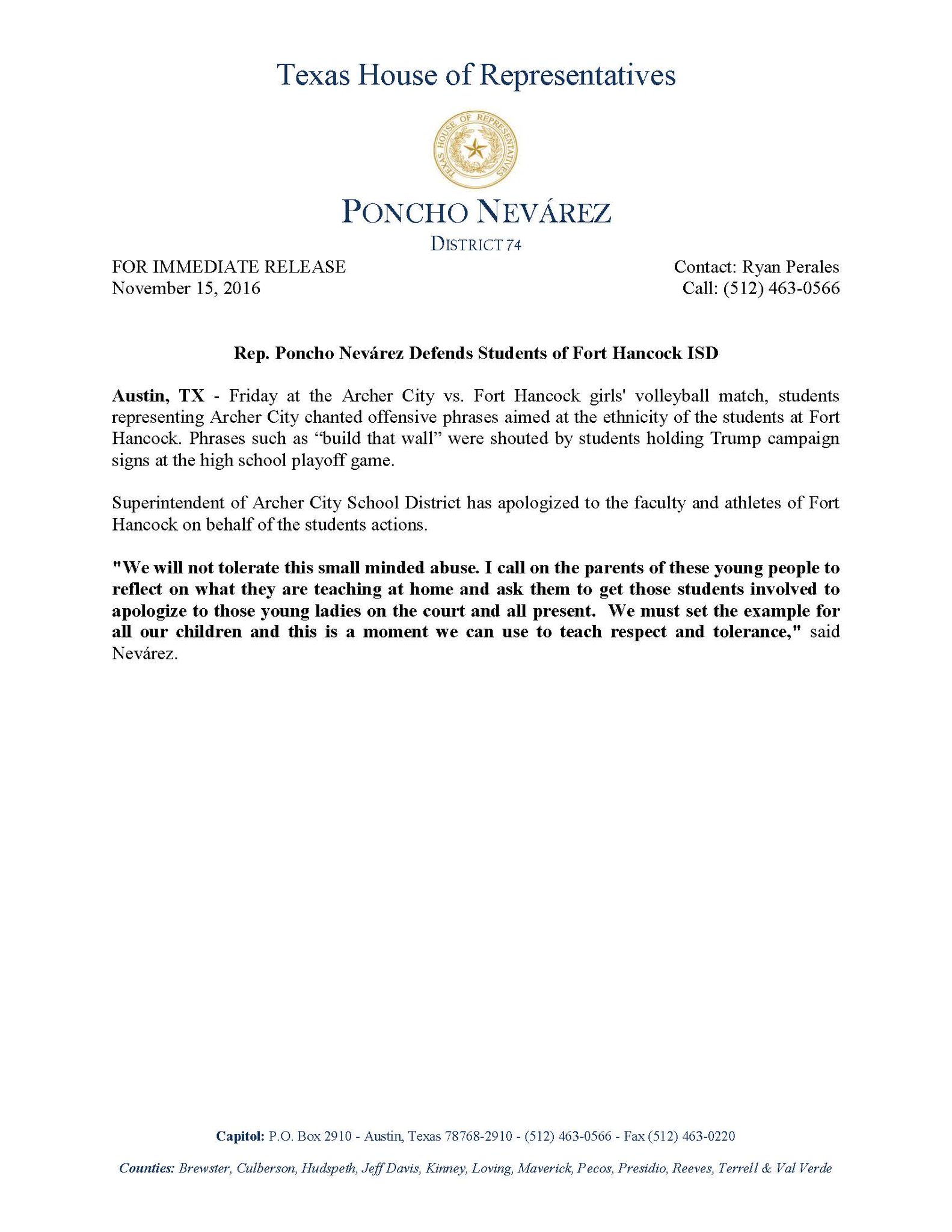 Statement regarding treatment of Fort Hancock students during playoff volleyball game #HD74 #txlege https://t.co/8GBADpuP3p