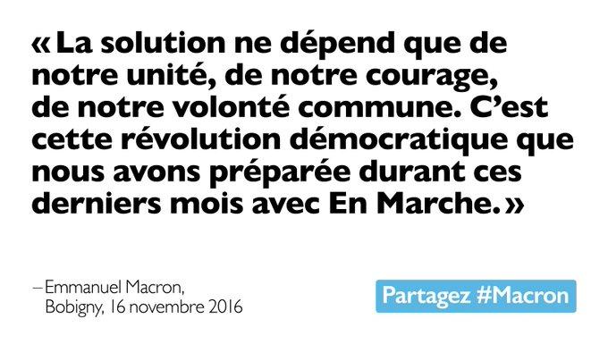 La solution ne dépend que de notre unité, de notre courage, de notre volonté commune. #Macron #EnMarche