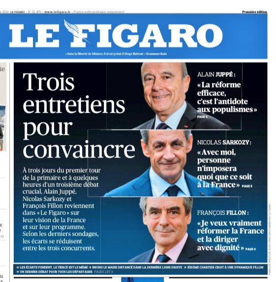 Comme beaucoup de confrères, Le Figaro a décidé que ça se jouait entre  Sarkozy-Juppé-Fillon.Poubelle Le Maire.Ce n'est pas très prudent...