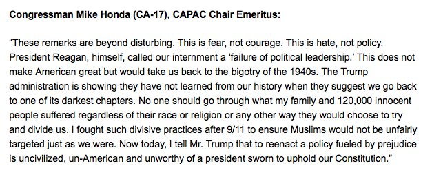 Rep. Mike Honda, who was interned with his family in the 1940s, issues statement: https://t.co/XO3o6Jawti