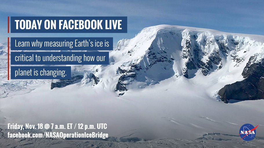 7 a.m. today on Facebook live: Go behind the scenes of NASA's #IceBridge mission! https://t.co/xEVnplTNAs https://t.co/mOQwC7ypJP