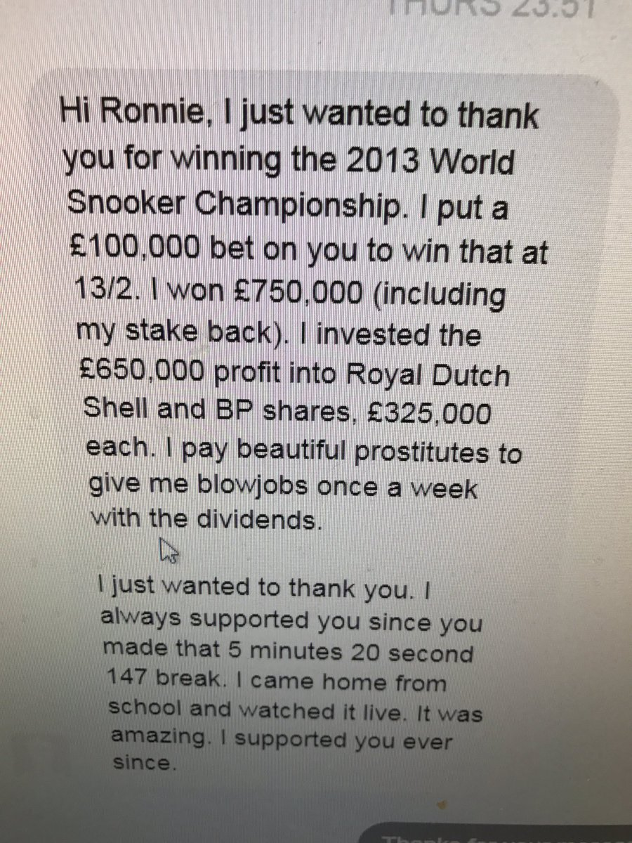 Probably the best message ever sent into @ronnieo147 I've hidden the name, not that he'd care I'm sure https://t.co/klHMKVDx3y
