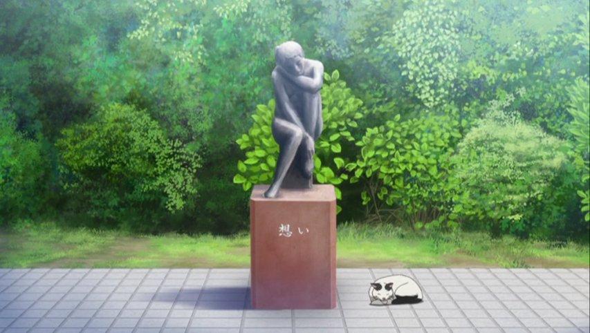 GO!GO!575二話冒頭に出てくる銅像は記念館の裏にあるらしいそれよりも驚いたのが猫のモデルもいたということ学園のアイ
