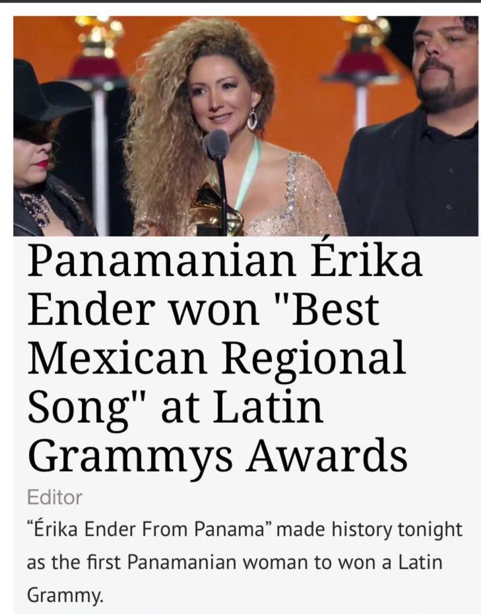 La primera mujer panameña en ganar un Latin Grammy @erikaender!!!  @LatinGRAMMYs  Qué emoción!!! https://t.co/8j37KiHCzT