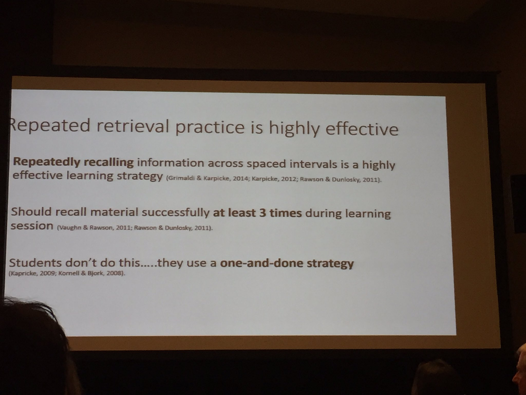 """Students use a """"one-and-done"""" strategy, which is not optimally effective. #psynom16 https://t.co/mnOXCwshnW"""