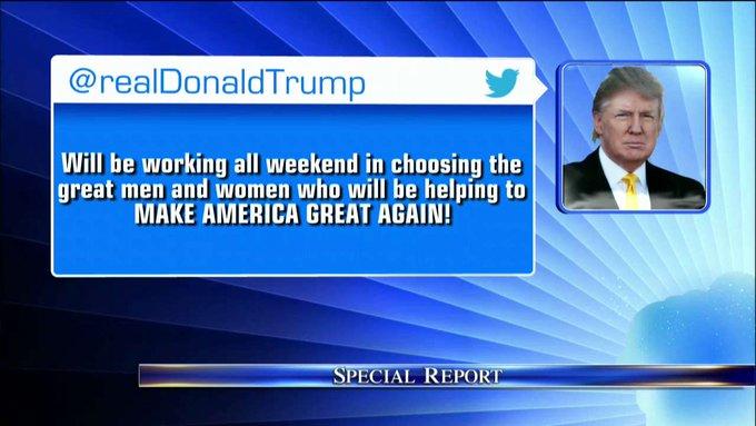 .@realDonaldTrump tweets about his weekend plans. #TrumpTransition #SpecialReport
