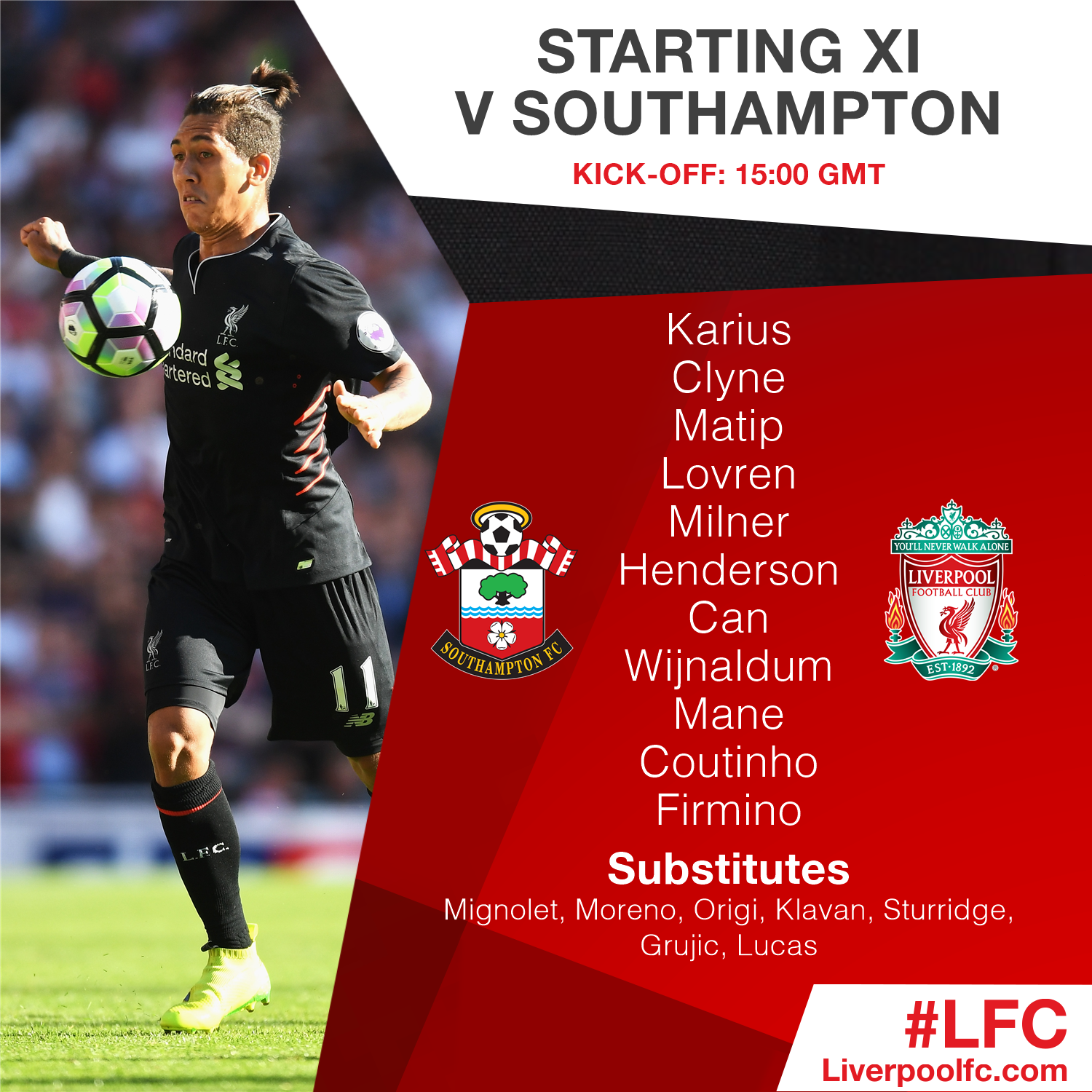 Team news: #LFC's confirmed starting line-up and substitutes v @SouthamptonFC #SOULIV https://t.co/0isoJT6qb5