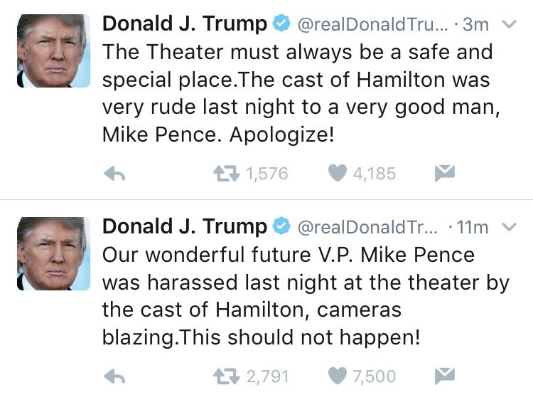 One of @realDonaldTrump's first public acts as President-elect is feuding with the cast of the Broadway show @HamiltonMusical.