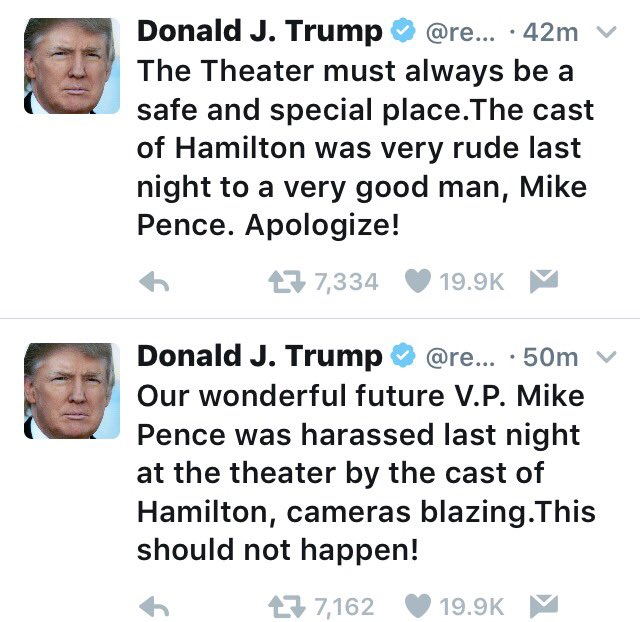 Hey @realDonaldTrump, if you and @mike_pence are too soft to handle respectful criticism in public, get new jobs - in a different country