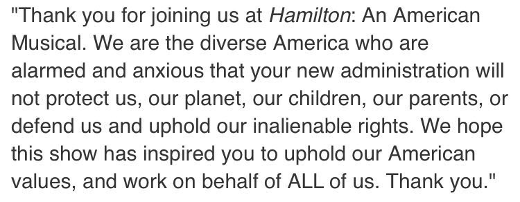 As an actor in the Broadway community, I stand with @HamiltonMusical. This was a beautiful statement. https://t.co/qHqRtH6EcN