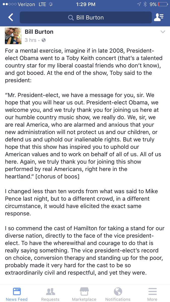RT @jaketapper: Here's former @BarackObama press secretary @billburton on Hamil-Pence controversy https://t.co/dW0TFYm7t7