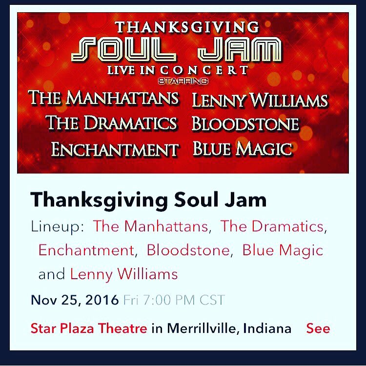 Get your family out and see @THEMANHATTANS @LennyWilliams and many more legends!! #SoulJam #Live #Concert https://t.co/NnmJX4YZZi