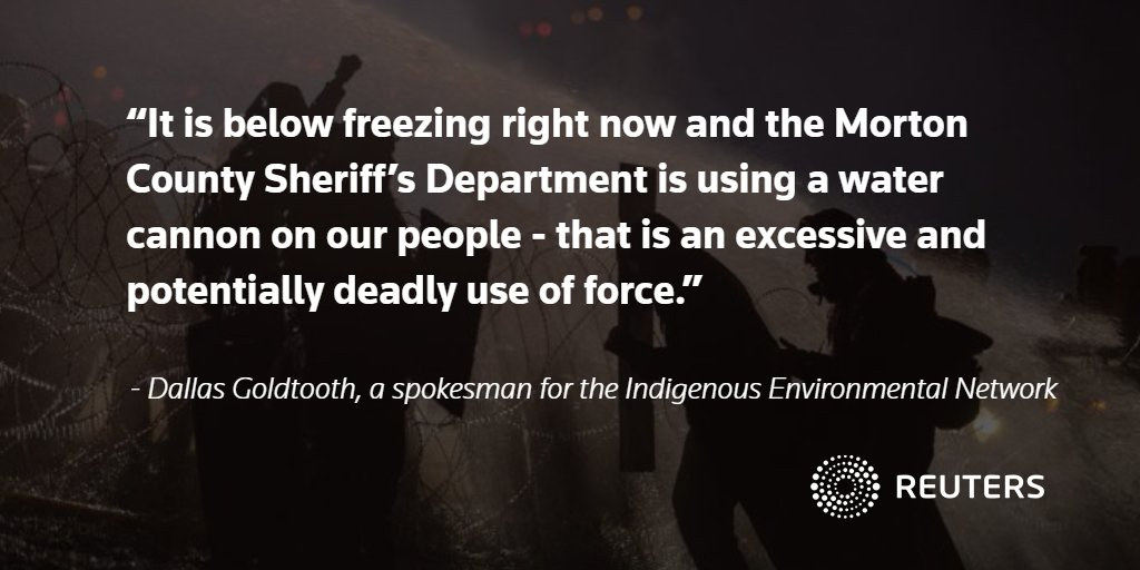 Police fire tear gas and water at Dakota pipeline protesters in freezing weather: