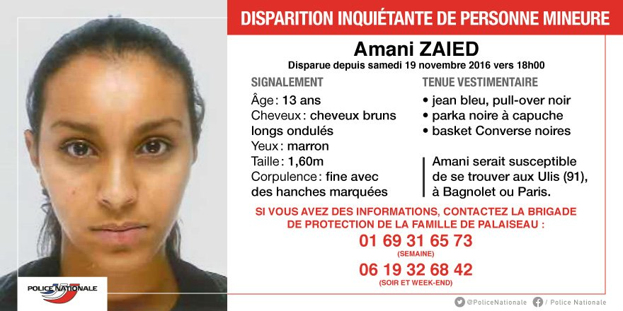 APPEL A TÉMOINS - Disparition inquiétante d'une adolescente de 13 ans >> https://t.co/WcbrqXCPPJ