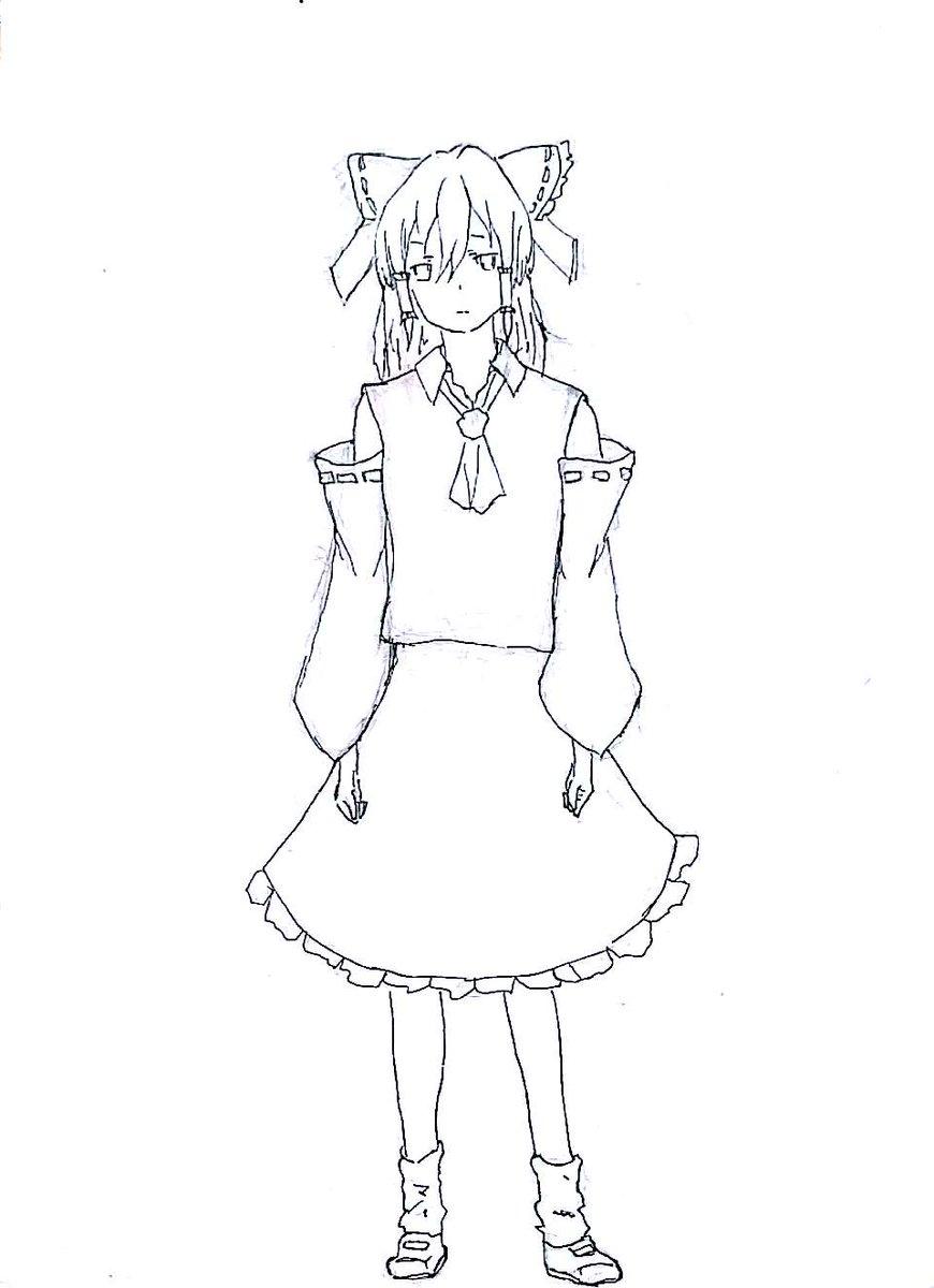 #東方 #田中くんはいつもけだるげアニメの設定画でコラボさせてみた。左から、霊夢[田中] 魔理沙[太田] チルノ[宮野]