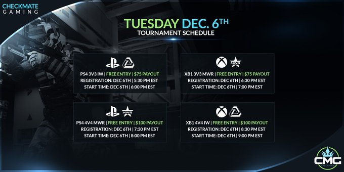 RT @CMG_eSports: #tuesday   #FREE Entry Tournaments Get your Team and Prepare for Battle! #CMG https://t.co/oK5izgFp2O