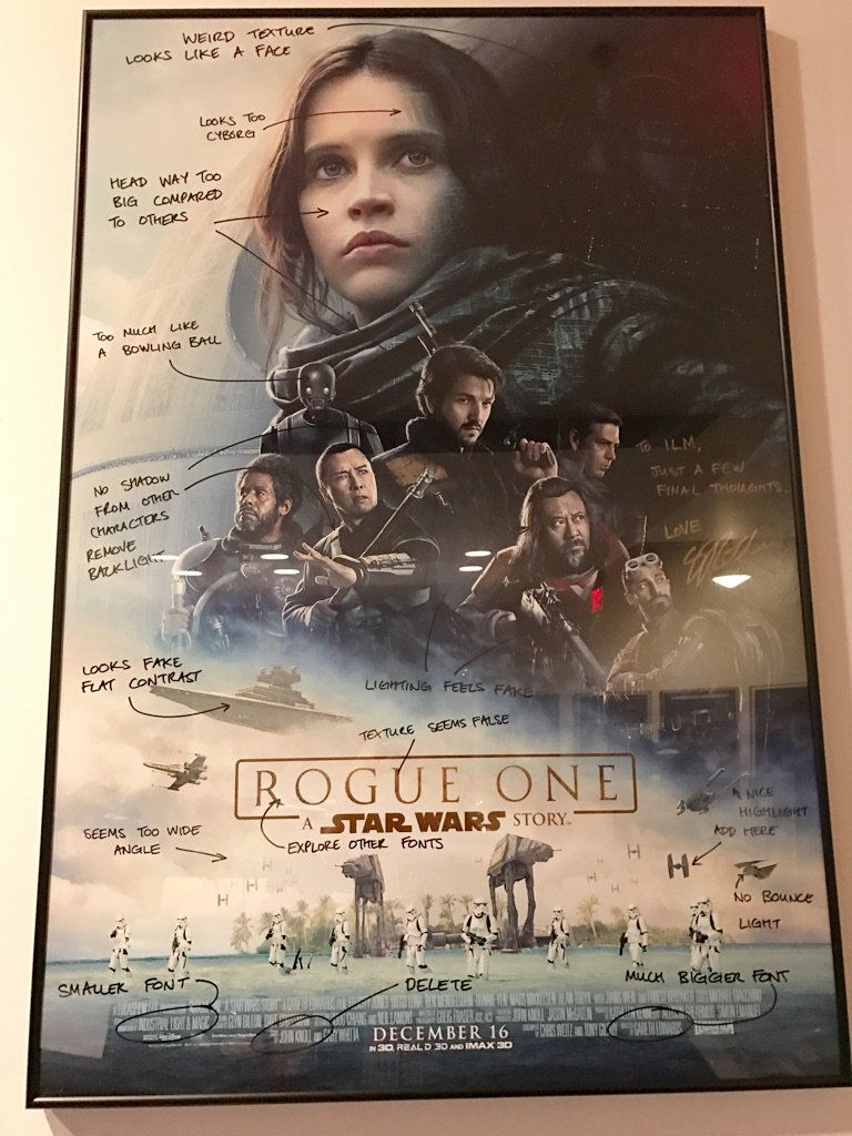 Some fun feedback for #RogueOne poster inside of ILM / Lucasfilm #RogueOneEvent https://t.co/zuwgOMa9PD