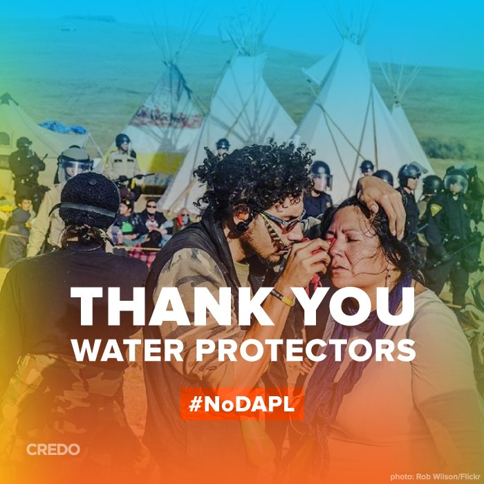 Thank you water protectors. CREDO statement: https://t.co/mIPgjRweI9 #NoDAPL https://t.co/4GL2RrICfg