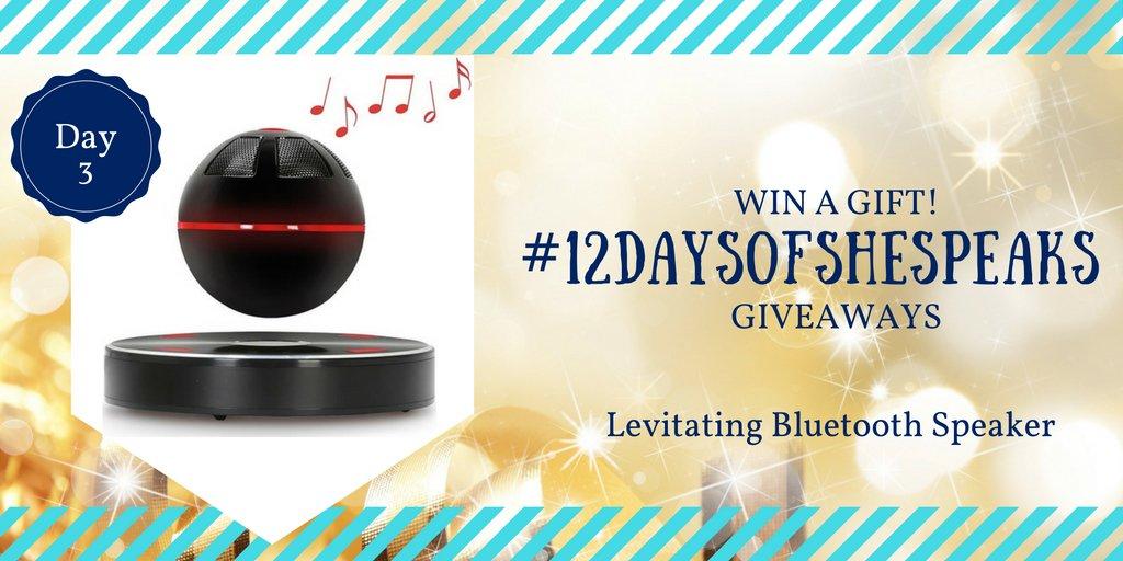 #12DaysOfSheSpeaks Day 3: Win a Levitating Bluetooth Speaker https://t.co/38Ev6uwuq1 via @shespeaksup https://t.co/9Tgn7wD9FR