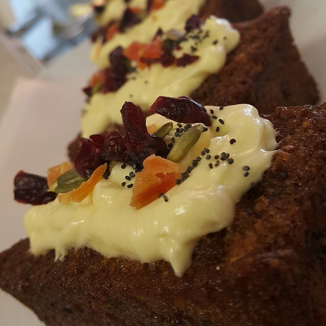 Tuesday 6 December, 11:30 a.m. - Carrots have never looked so good #nowalnuts #creamcheeseicing #carrotcake #moist @olivia.duin
