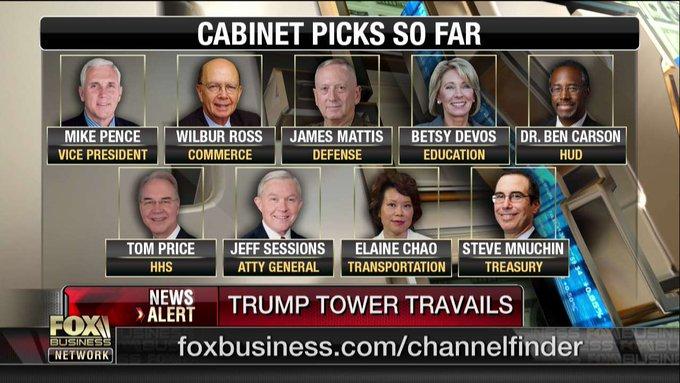 Cabinet picks so far. #TrumpTransition