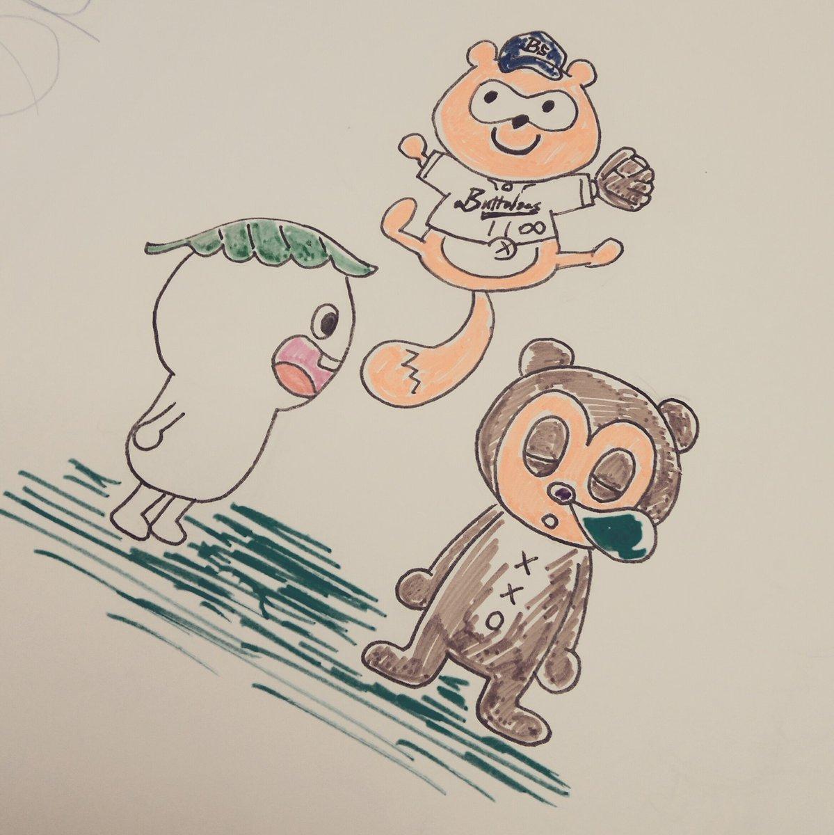 お気に入りキャラクター3傑:・バファローズポンタ(オリックスバファローズ)・しろ(どちゃもん じゅにあ)・PJベリー(パ