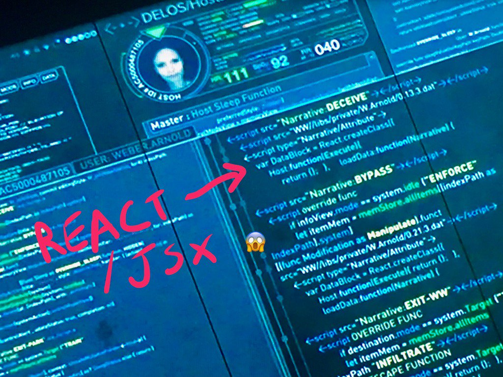 The most chilling reveal in last night's Westworld: Maeve's core narrative code has a React.js dependency https://t.co/ONALGqZ3or