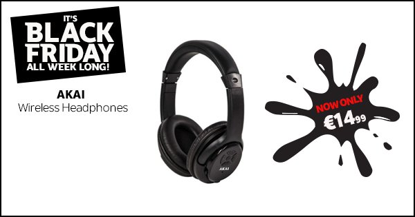 Get the Akai wireless headphones for just €14.99 this #BlackFriday week at DID Electrical! https://t.co/zNStUJM97Z https://t.co/8Q80dHrm4q