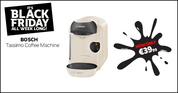 Create the perfect hot drink with the Tassimo drinks machine! Now only €39.99 #BlackFriday https://t.co/xVJZ6plNI1 https://t.co/NPcobyOHC1