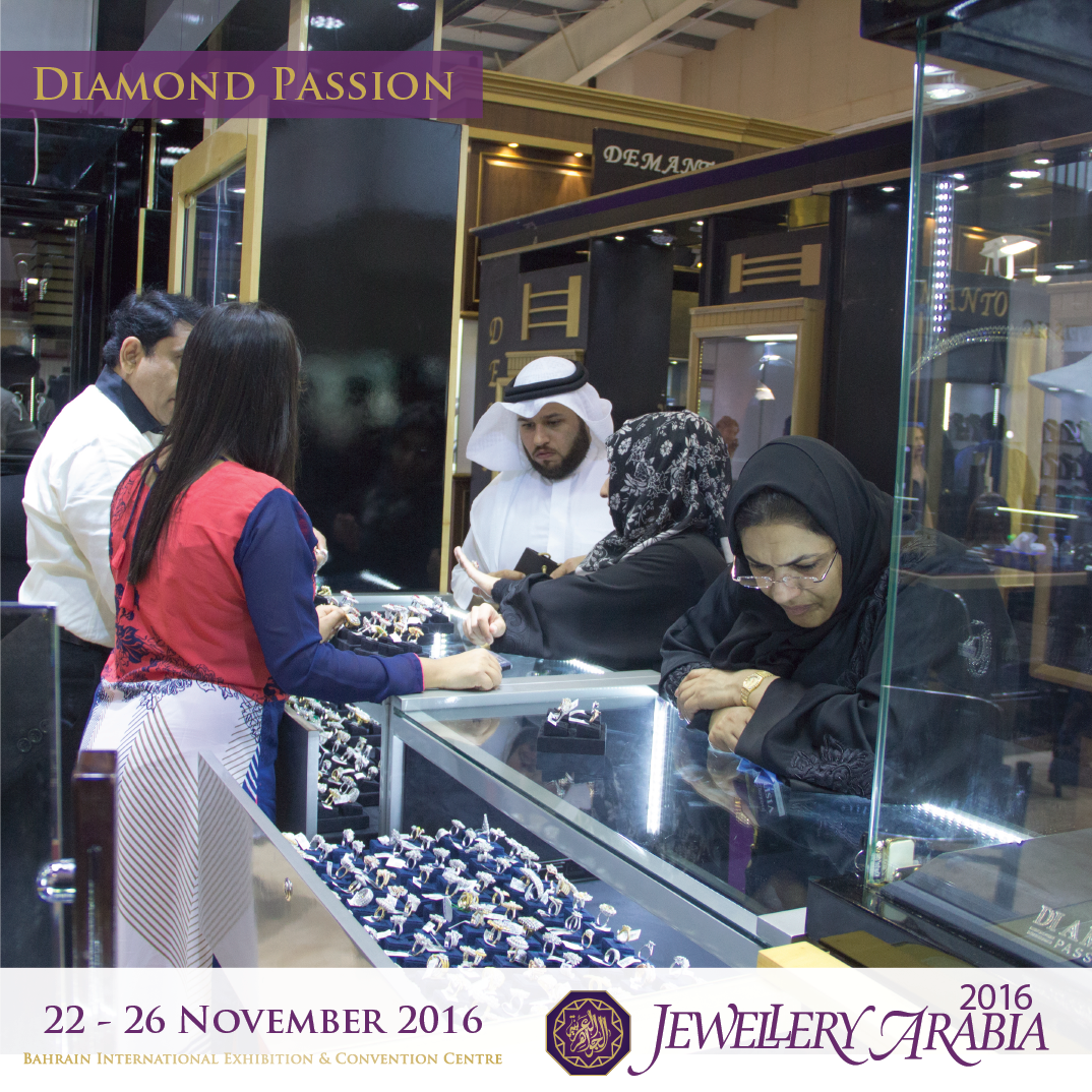 test Twitter Media - Visitors checking out the collection at @diamondpassion in Hall 1 of Jewellery Arabia 2016.    #jewellery #arabia #2016 #bahrain #ring https://t.co/KXWNdmpBqH